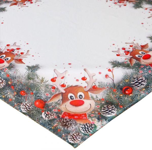 Tischdecke Mitteldecke Weihnachten witziger Elch weiß & Druck bunt 110x110 cm