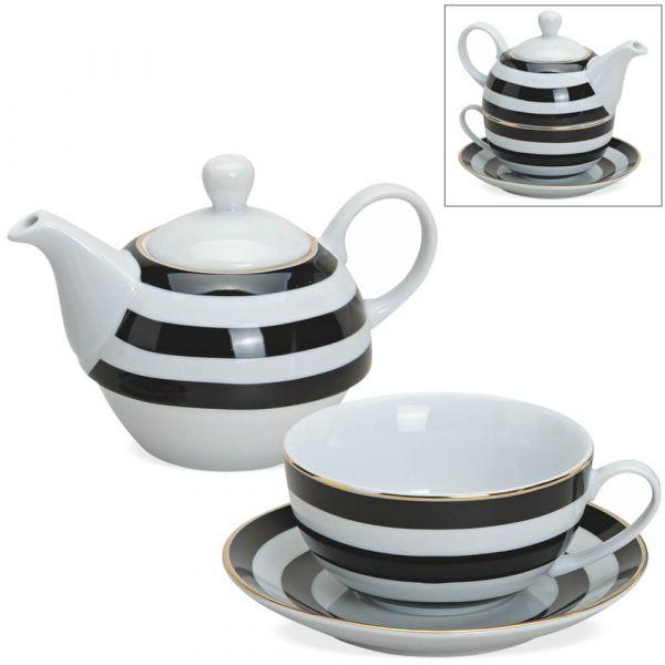 Tea For One Geschenkset Streifen schwarz weiß Goldrand Teekanne Tasse & Teller
