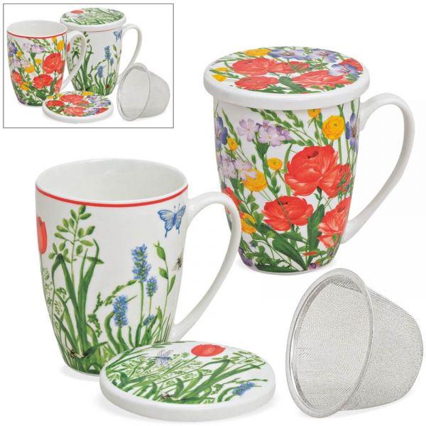 Teetassen Teebecher mit Deckel & Sieb bunte Blumen 2er Set sort – 11 cm / 300 ml