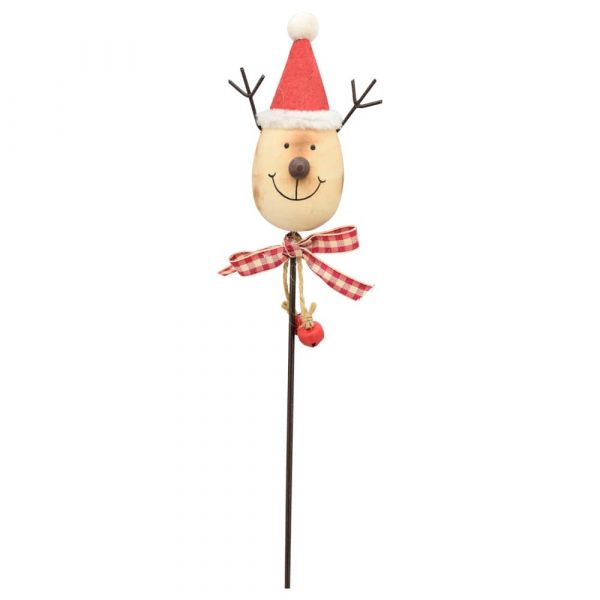 Rentier am Stick Gartenstecker Dekostecker Holz Weihnachtsmütze Schleife Glocken