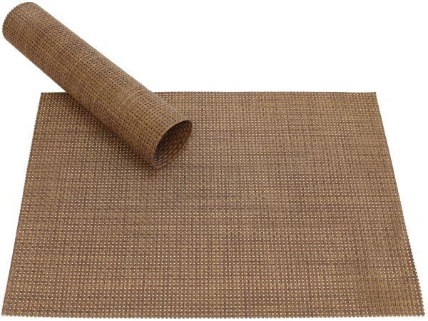 Tischset Platzset ELEGANCE hellbraun braun gewebt Kunststoff 1 Stk. 45x30 cm