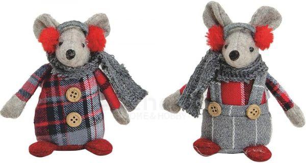 Mäuse Wintermäuse mit Schal Dekofiguren Textil Weihnachtsdeko 2er Set je 10 cm