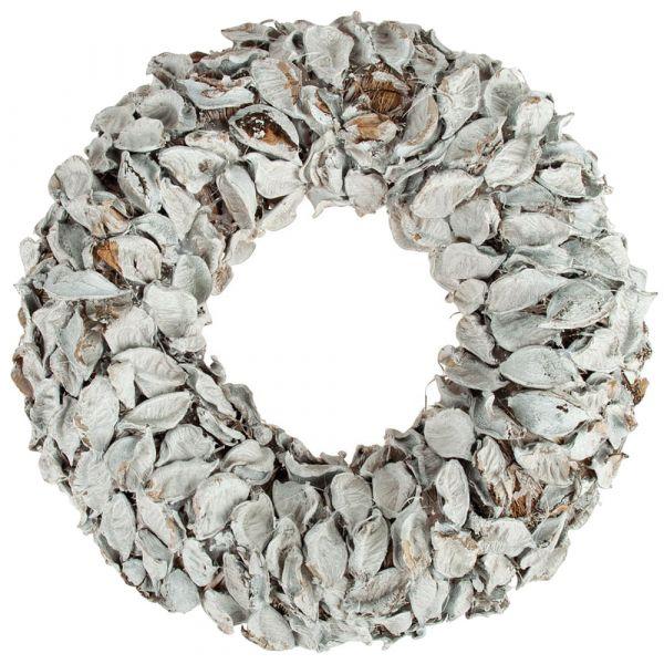 Weiß gekalkter Strohkranz mit getrockneten Baumwollblüten 1 Stk Ø 30x10 cm
