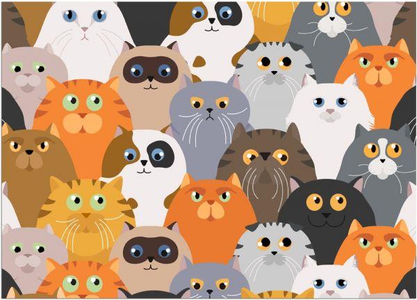 Fußmatte Fußabstreifer DECOR Katzen Katzenköpfe Comic Katze waschbar 50x70 cm