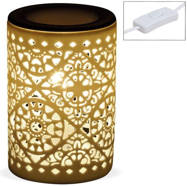 Duftlampe Tischlampe Lampe Nachttischlampe 230 V Keramik weiß 1 Stk - Ø 10x15 cm