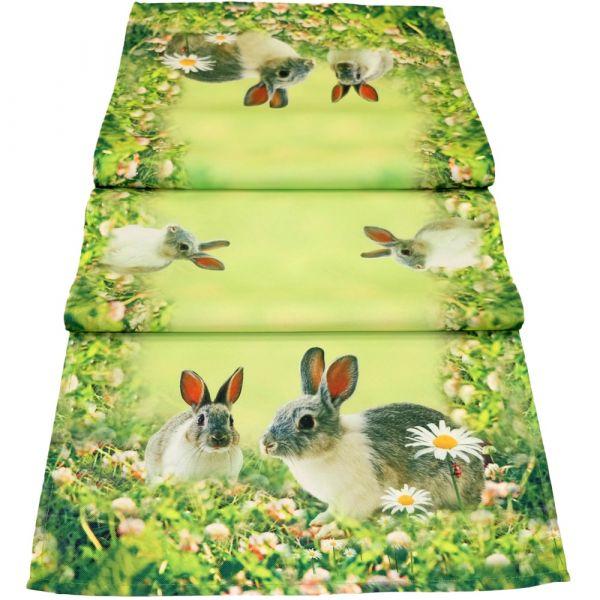 Tischläufer Mitteldecke Hasen & Wiese Ostern Fotodruck bunt Tischwäsche 40x140cm