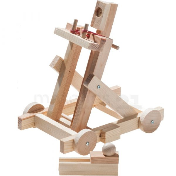 Fahrendes Katapult Wurfschleuder als Kinder Holz Bausatz Werkset ab 11 Jahren
