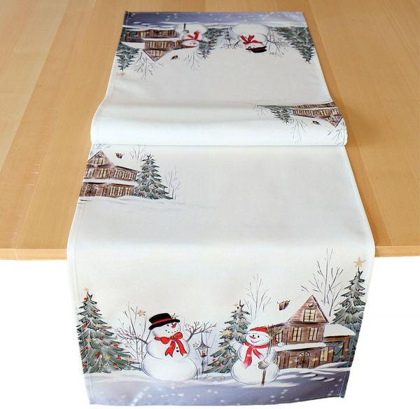 Tischläufer Mitteldecke Weihnachten Schneemänner Winter Druck 40x140 cm weiß bunt