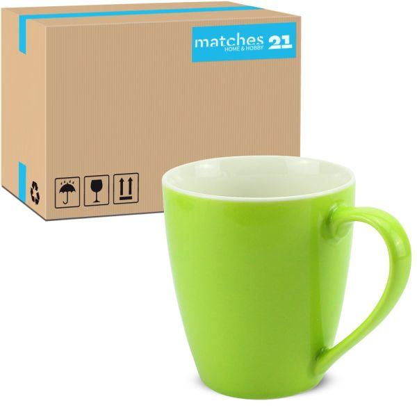 Tasse Kaffeebecher Unifarben einfarbig kiwi grün Porzellan 48 Stk. Karton 350 ml