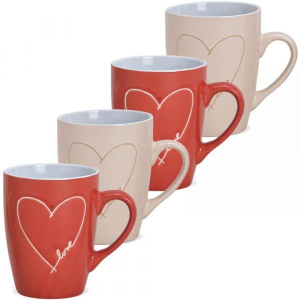 Tassen Kaffeetassen Steingut Herz & Love rot & beige 4er Set 2-fach 8 cm 280 ml