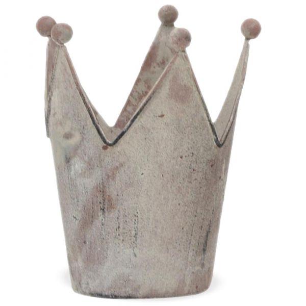 Krone Metall Kerzenhalter Orchideentopf grau Vintage Deko 1 Stk - 11x13,5 cm