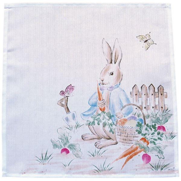 Mitteldecke Tischwäsche Osterhase Junge Ostern Frühling weiß Druck bunt 30x30 cm