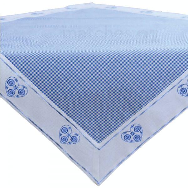 Tischdecke Mitteldecke Tischwäsche Landhaus blau weiß kariert & Herz 85x85 cm