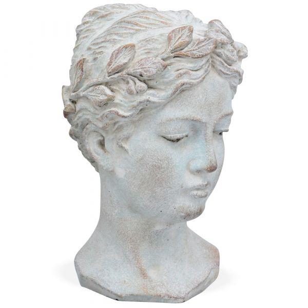 Frauenbüste Kranz klein Keramik Antik Büste Vintage creme weiß Frau 1 Stk 16x23 cm