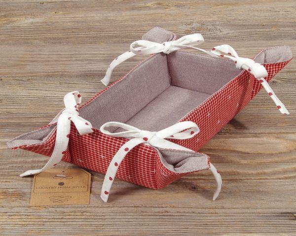 Brotkorb Textil Landhaus Premium ROSI rot weiß kariert uni grau Korb 10x20 cm
