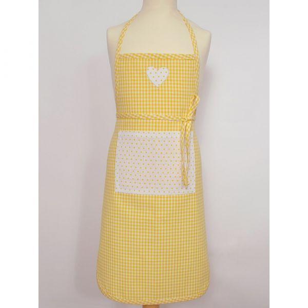 Kinder Latzschürze mit Tasche Schürze Landhaus Premium EVA gelb weiß 60x40cm