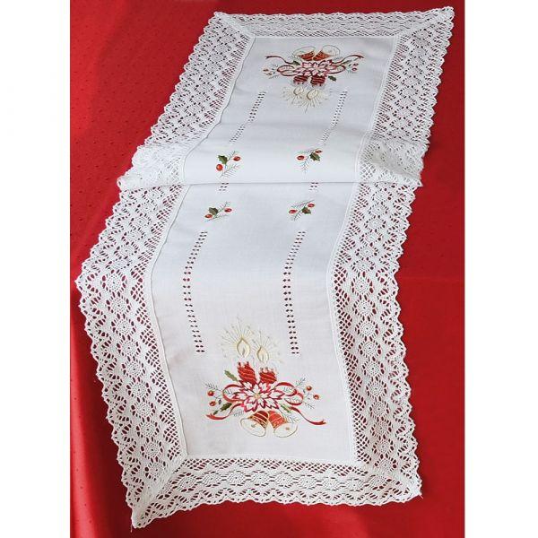 Tischläufer Mitteldecke Weihnachten Kerzen Stick & Häkelspitze 40x140 cm weiß