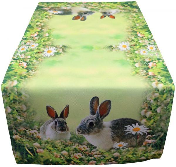 Tischläufer Mitteldecke Hasen & Wiese Ostern Fotodruck bunt Tischwäsche 40x90 cm