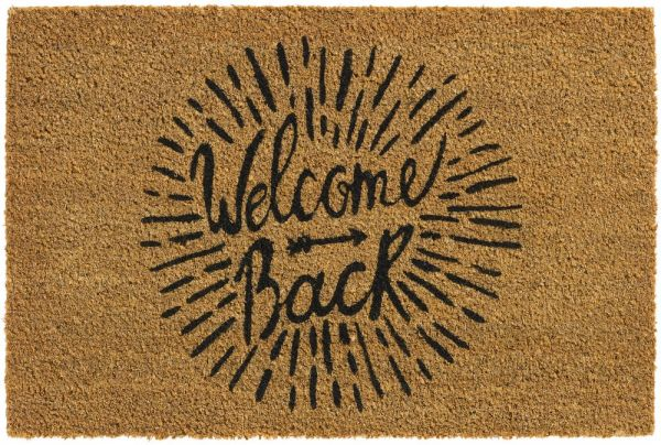Bio Kokosmatte Indoor Fußmatte natürliche Latexbeschichtung Welcome Back 40x60 cm