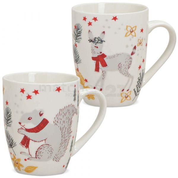 Tasse Weihnachtstasse Porzellan Weihnachten Dekor Tiere 1 Stk ** B-Ware **