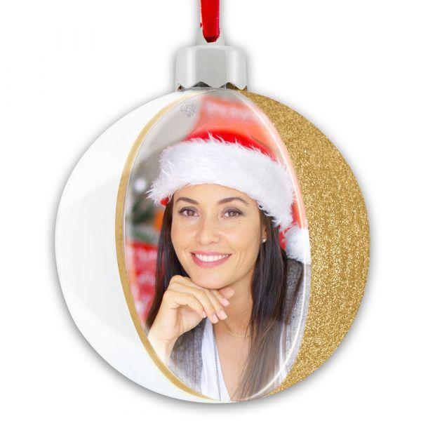 Foto Christbaumkugel Weihnachten Bilderrahmen Streifen & Glitter 1 Stk - gold