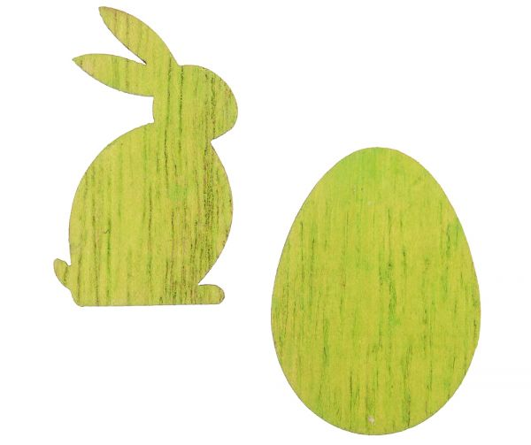 Holz Streuteile Ostern Hasen & Eier grün Tischdeko Streudeko Osterdeko 48 Stk