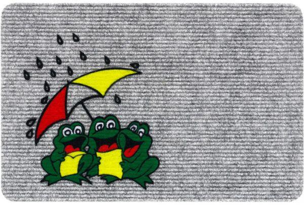 Fußmatte RIPS Nadelfilz Motiv Frösche & Regenschirm Indoor 1 Stk - 40x60 cm grau