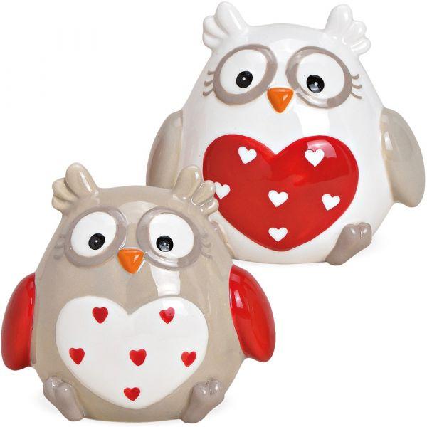 Weihnachten Deko Figuren Eulen Keramik mit Herz braun & weiß 2er-Set 9x7x8 cm