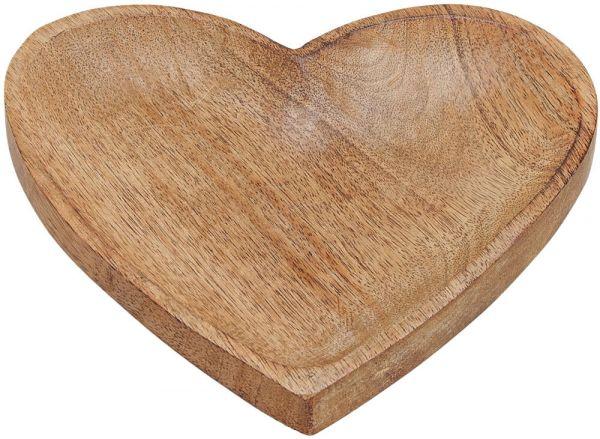 Herz Schale Mango Holz braun nachhaltig vielseitig verwendbar 1 Stk 20x20x2 cm