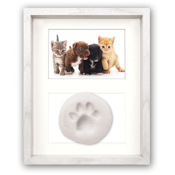 Bilderrahmen Kit für Pfotenabdrücke Katze Hund Holzrahmen Foto Rahmen Holz weiß