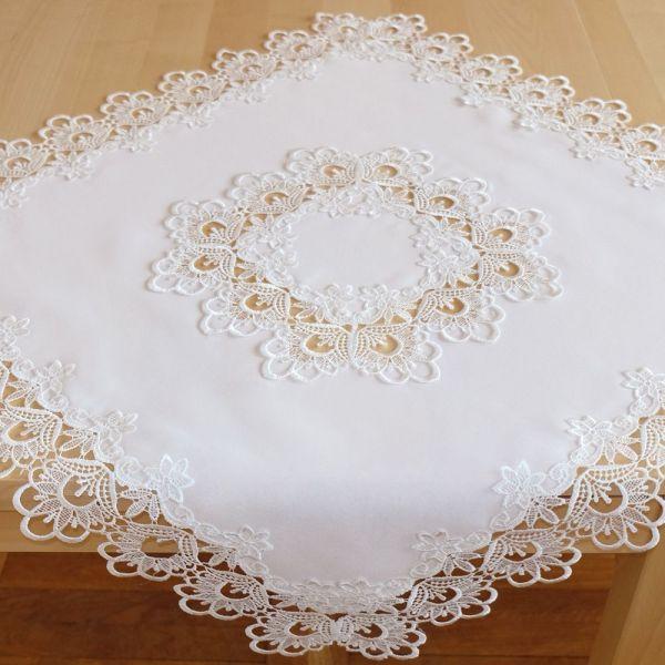 Tischdecke Mitteldecke Stickerei Spitze wollweiß Tischwäsche 110x110 cm 1 Stk