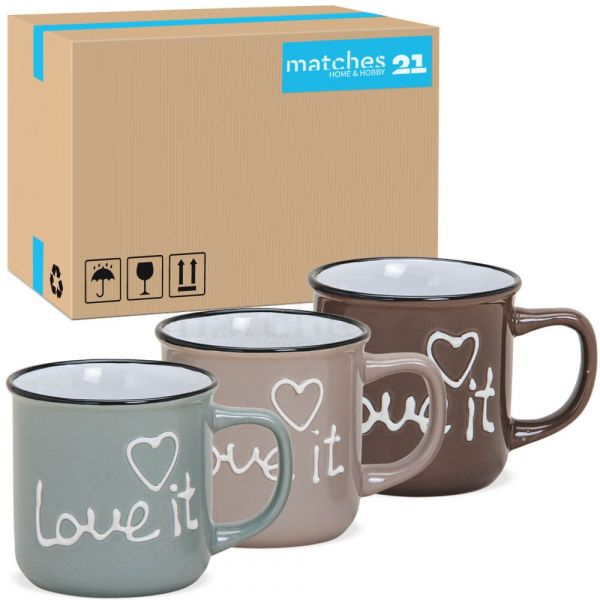Kaffeetassen Tassen LOVE IT Emaille-Optik 36 Stk Karton blau & braun Keramik 300 ml