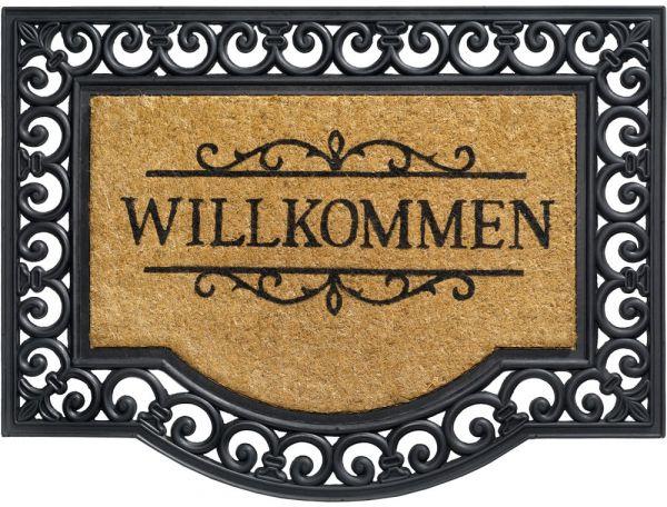 Fußmatte Fußabstreifer KOKOS Ornamente Gummirand & Willkommen 60x80 cm rutschfest