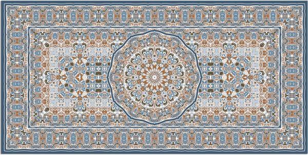Teppichläufer Küchenläufer Teppich Perser Ornamente blau orange waschbar 60x120 cm