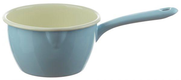 Email Stielkasserolle / Stieltopf mit Ausguss blau Emaille Geschirr 1000 ml
