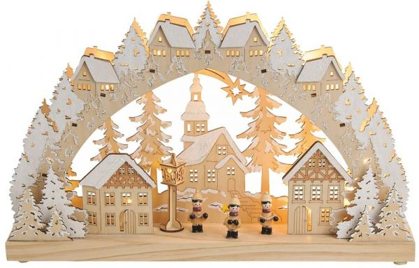 Schwibbogen 3D Lichterbogen Dorf Sternsinger LED Beleuchtung Weihnachtsdeko 45cm
