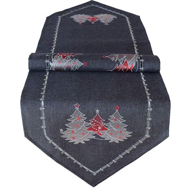 Tischläufer Mitteldecke Weihnachten Stick Tannenbäume rot silber 40x140 cm grau