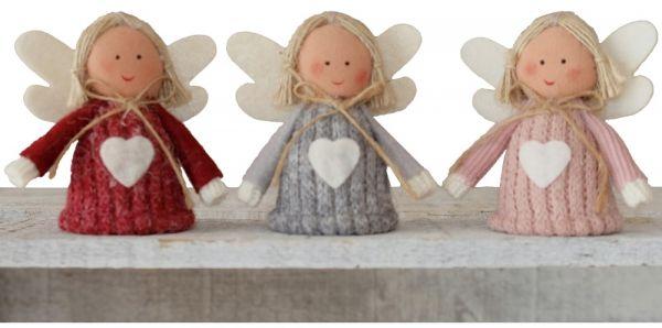 Engel niedliche Weihnachtsengel gestrickt mit Herzen Weihachten Deko 3er Set 7 cm