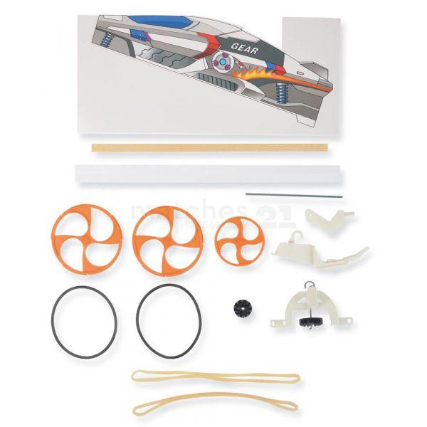 Auto Rennauto Flitzer Zahnrad-Gummimotor 24 cm Bausatz Bastelset ab 8 Jahren