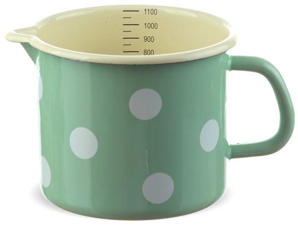 Email Milchtopf mit Skala grün gepunktet Emaille Topf / Messbecher 12 cm 1000 ml