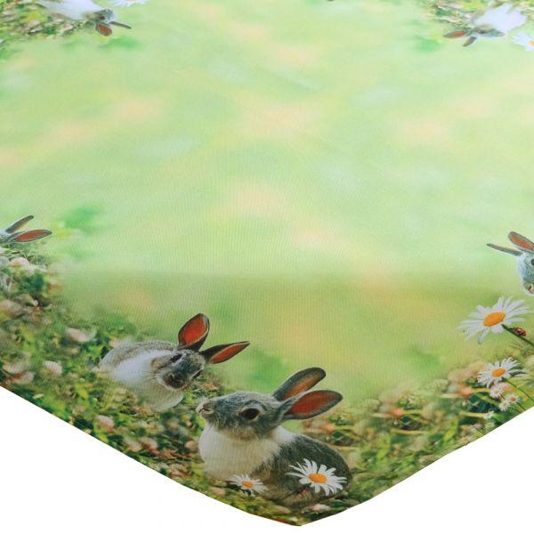 Tischdecke Mitteldecke Hasen & Wiese Ostern Fotodruck bunt Tischwäsche 85x85 cm