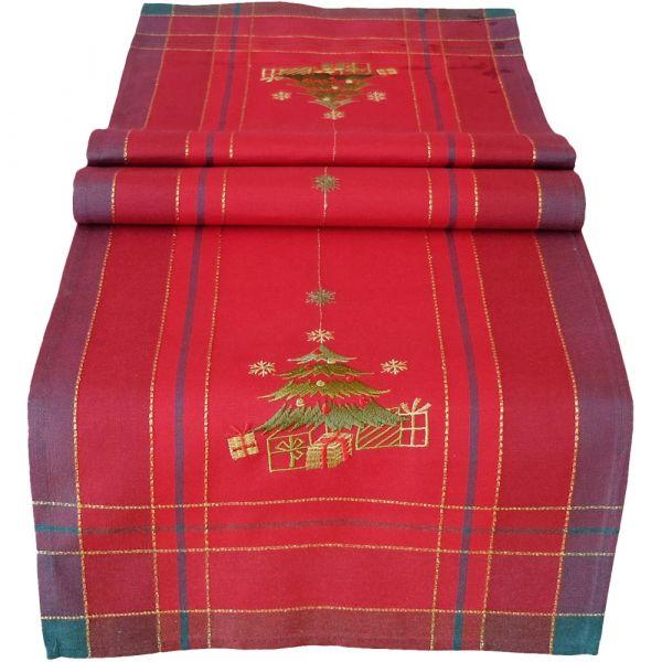 Tischläufer Mitteldecke Weihnachten Christbaum gestickt 40x140 cm rot bunt gold