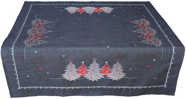 Tischdecke Mitteldecke Weihnachten Stick Tannenbäume rot silber 85x85 cm grau