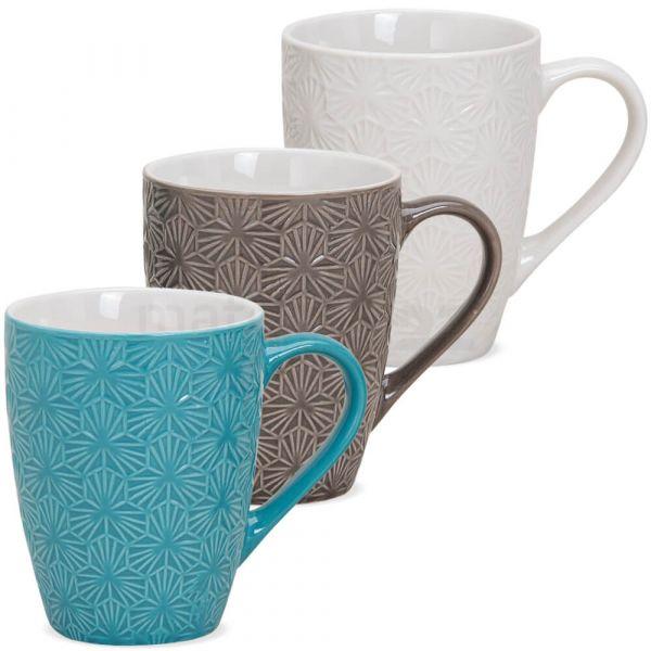 Tasse Becher Kaffeebecher Retro Motiv Keramik türkis braun weiß **B-WARE** 1 Stk