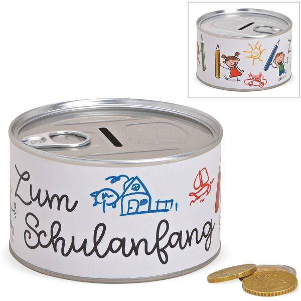 Spardose Blechdose & Aufreißverschluss Geldgeschenk – Zum Schulanfang – Ø 10 cm