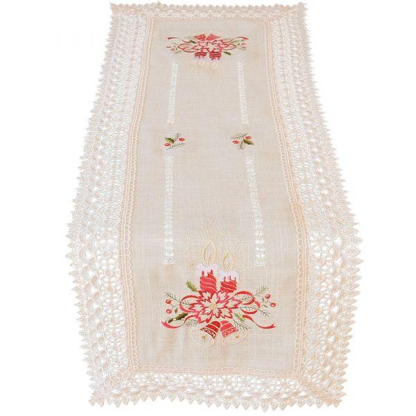 Tischläufer Mitteldecke Weihnachten Kerzen Stick & Spitze 40x110 cm beige bunt