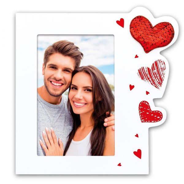 Bilderrahmen Holz weiß aufgedruckte Herzen & Pailletten Herz Hochzeit - 10x15 cm