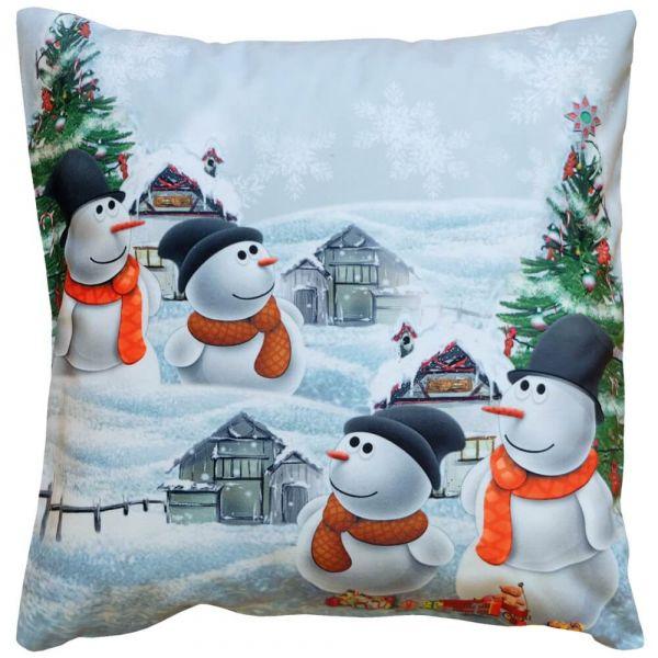 Kissenhülle Kissen Heimtextilien Weihnachten Schneemänner weiß bunt 40x40 cm