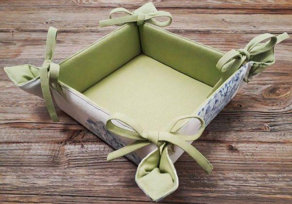 Brotkorb Textil Landhaus Premium LOTTE Hortensien Blüten grün Korb 20x20 cm