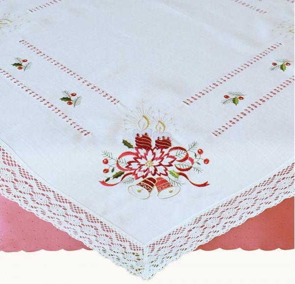 Tischdecke Mitteldecke Weihnachten Kerzen Stick & Häkelspitze 110x110 cm weiß